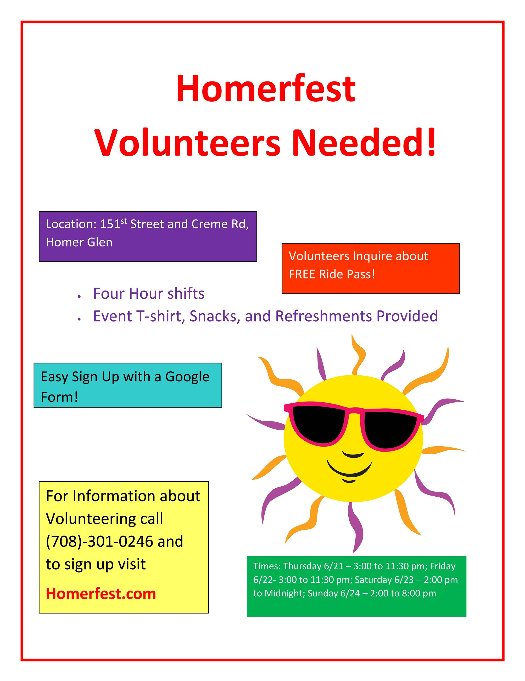 HomerFest Volunteers Needed