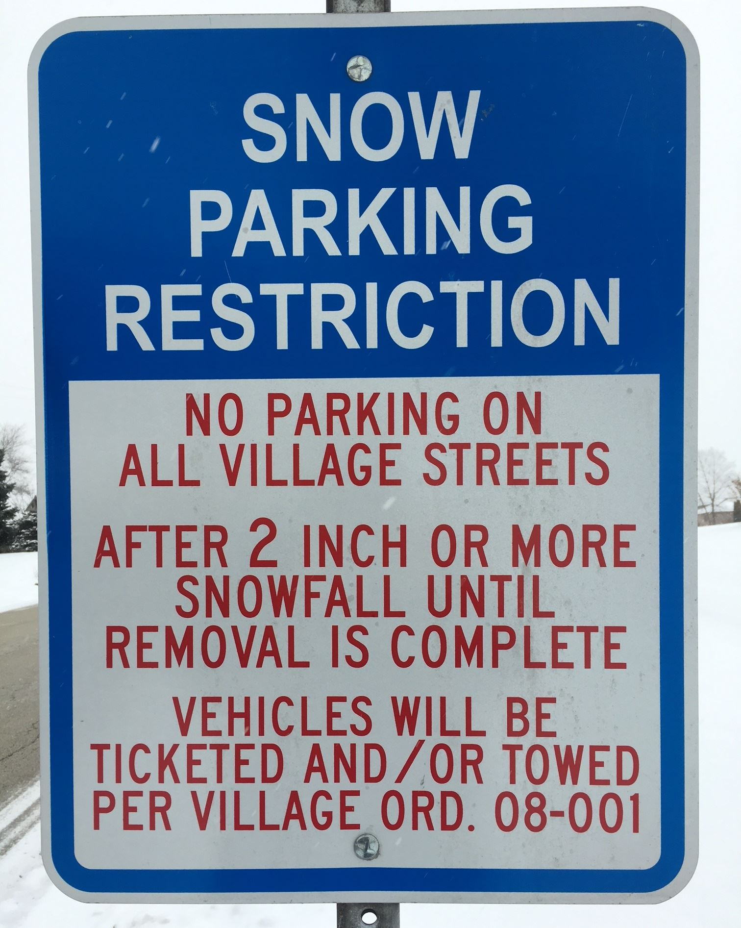 Snow Parking Restrictions Sign IMG_0040