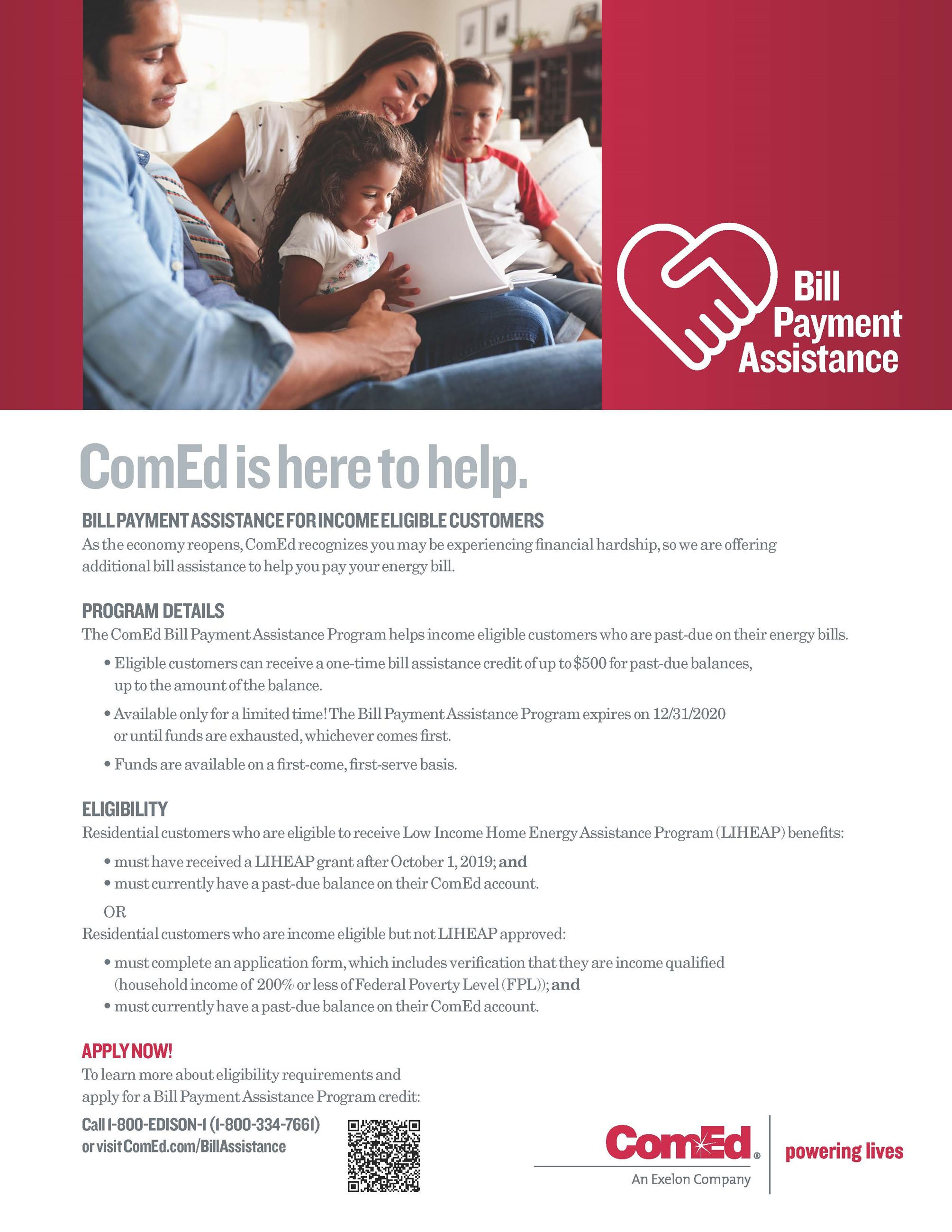 ComEd Bill Payment Assistance Flyer
